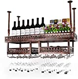 Bedspread American-Style Wall Wine Racks Metal Iron Storage Shelf in Bar Household Loft Ceiling Wall Mounted Hanging Wine Champagne Glass Goblets Stemware Rack Wine Bottle Holder Multi-Size