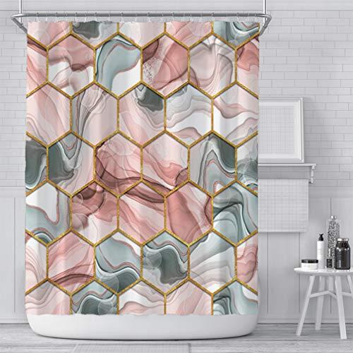 Xiongfeng Wasserdicht Marmor Muster Rosa Duschvorhang Textil 180x180 inkl. 12 Ringe Blickdicht Badewannenvorhang aus Polyester Grau Golden Geometrisch Vorhang mit Verstärkte Löcher