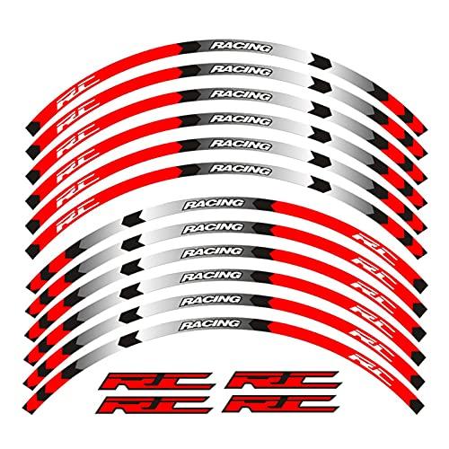 bazutiwns Motocicletas Reflectante Etiqueta Etiquetas de Ruedas Pegatinas Rim Stripe Tape Compatible con KTM RC 125 200 390 HSLL (Color : 9)