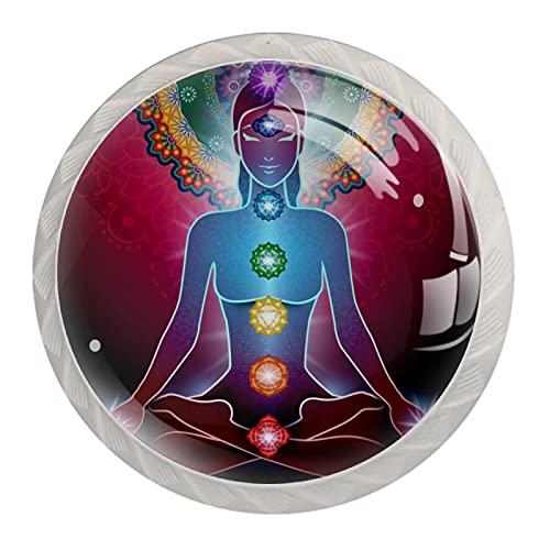 Juego de 4 tiradores de cajón y pomos para cajones con tornillos de cristal para cajón, gabinete, tirador de armario, accesorios para yoga, loto o chakra, luz de 35 mm
