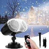 LED Projecteur de Noël, Qxmcov Lampe de projection Snowfall Extérieur et Intérieur avec Télécommande, Lampe de Projection Etanche, Projecteur de Lumière pour Fête Mariage Halloween Anniversaire Jardin