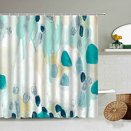 JQDFSR DuschvorhangDesign abstrato moderno Cortina de chuveiro colorido Graffiti banheiro cortinas poliéster à Prova dwaterproof água decoração para casa cinto gancho conjunto