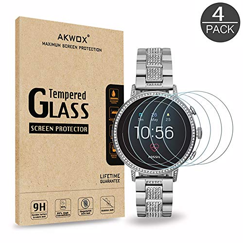 [4 Pack] Tempered Glass Screen Protector for Fossil Women's Gen 4 Q Venture HR, AKWOX [0.3mm 2.5D High Definition] Anti-Scratch Screen Protector for Fossil Women's Gen 4 Q Venture HR