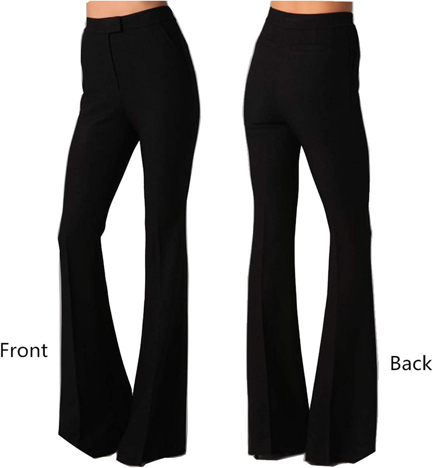 4XL Cotton Black Slim Flare Pants High Waist Long Office Work Pants Wide Leg Thin Trousers