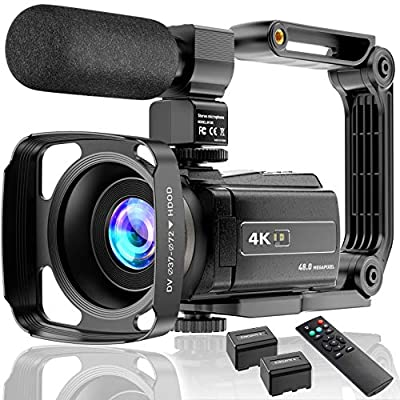 Video Camera 4K Camcorder Ultra HD 48MP Vlogging Camera for YouTube WiFi Night Vision Camcorder Touch Screen 16X Digital Zoom Vlog Camera Recorder with Microphone Remote Stabilizer Hood Batteries by Aabeloy