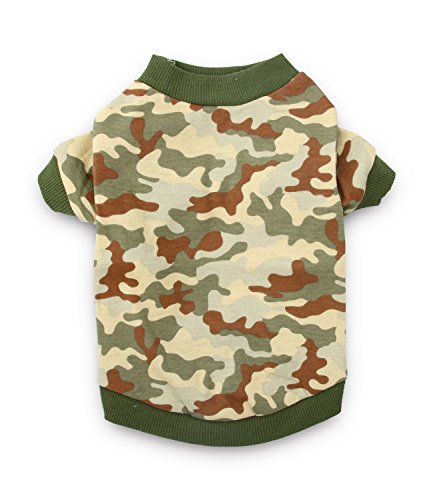 DroolingDog Dog Clothes Dog Camo Costume T Shirt Pet Tee Shirts Puppy Apparel for Small Dogs Boy, Small, Green