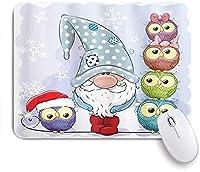 KAPANOU マウスパッド、漫画のキャラクターのノームイラスト面白い積み重ねられたフクロウと雪片 おしゃれ 耐久性が良い 滑り止めゴム底 ゲーミングなど適用 マウス 用ノートブックコンピュータマウスマット