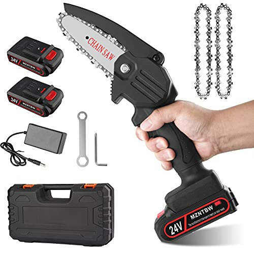 MZNTBW Mini Chainsaw Cordless Handheld with 2 Batteries 1 Charger, Portable Branch Wood Cutter Pro Hand Saw, 4 Inch Electric Pruning Shears Chainsaw Household Gardening Tool