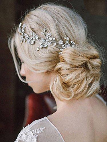 Unicra Wedding Handmade Headpiece Bridal Headband Hair Vine Decorative Hair Accessories for Brides Silver