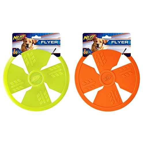 Nerf Dog Rubber Flyer Dog Toy, Frisbee, Lightweight, Durable and Water Resistant, Great for Beach and Pool, 10 inch diameter, for Medium/Large Breeds, Two Pack, Green and Orange