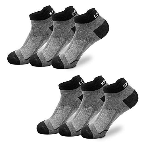 Sneaker Socken Herren Damen 6 12 Paar Kurze Baumwollsocken Sportsocken Halbsocken Schwarz Weiß Bunte(Dunkelgrau x6,43-46)