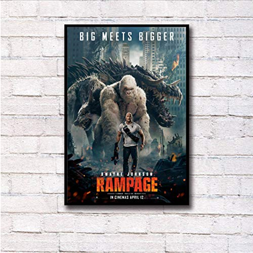 yhnjikl Rampage Dwayne Johnson The Rock Heißer Film Wandkunst Malerei Druck Auf Seide Leinwand Poster Dekoration 40X60 cm Ohne Rahmen