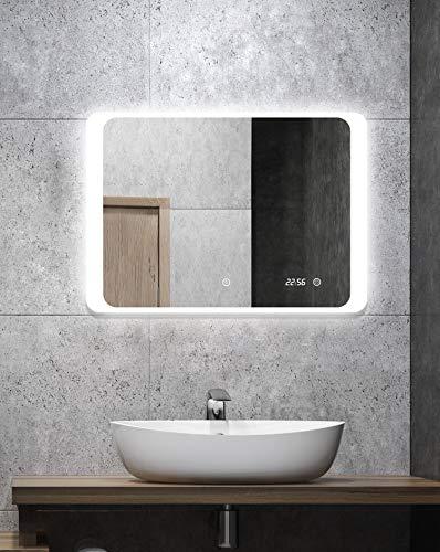 ALLDREI Badspiegel mit Beleuchtung Badezimmerspiegel mit Digitale Uhr, LED Licht, Touch Schalter – Waagerecht Montage 70 x 50 cm, Wasserdicth IP44, Weiß, Lumen 1440, Energieklasse A+