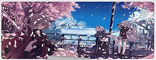 JIACHOZI 900 × 400 × 3 mm Rosa flores anime niña alfombrillas raton Alfombrilla para Juegos XXL Alfombrilla de ratón para computadora, Adecuada para Grandes almohadilla de escritorio,Alfombrilla Gamin