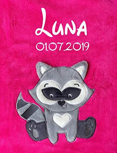 Babydecke bestickt mit Name und Geburtsdatum/kuschelig weich / 1A Qualität (Pink - Waschbär)