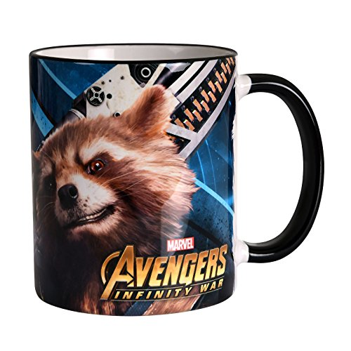 Elbenwald Marvel Tasse Avengers Infinity War Teenage Groot & Rocket Raccoon Motiv Rundumdruck Keramik 320 ml
