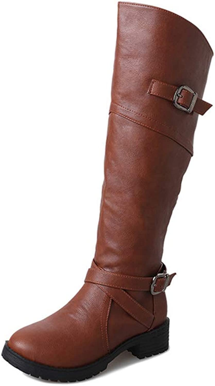 Hoxekle Knee High Boots Female Autumn Winter Waterproof Brown Black Buckle Mid Heel Round Toe Outdoor Boot