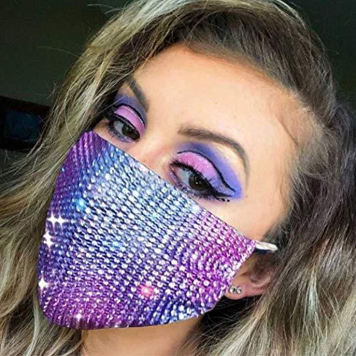 Woeoe Sparkly Mesh Masks Rhinestone Blue Crystal Mask Chain Metal Nightclub Masquerade Ball Party Venetian Mardi Gras Jewelry for Women and Girls