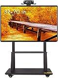 Soporte de Pared para TV Heavy Duty for TV de la revista Rolling-Mobile TV Soporte ajustable en altura con bloqueo de las ruedas, de 32 a 70 pulgadas de pantalla LCD LED Plasma de panel plano, Negro,