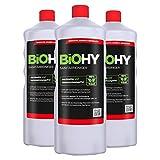 BIOHY Sanitärreiniger (3x1 litre) | Nettoyeurs sanitaires 3 bouteilles de 1 litre | Concentré de décomposition de la chaux pour les sanitaires | Laisse une odeur agréable et fraîche | EXTRA FORTE