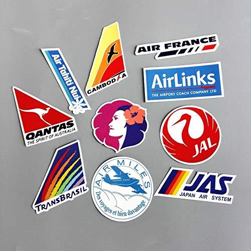 10 Unids/Lote Airline Logo PVC Decal Sticker Moda Tronco Portaequipajes Laptop Marca Bolso Impermeable Pegatinas Juguetes