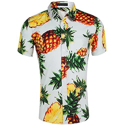 Camisa De Playa De AlgodóN Puro Hawaiano para Hombre Camisas con Estampado De Flores Florales Tops Casual Manga Corta Verano Vacaciones Vacaciones Funky Tallas Grandes