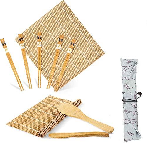 Kit à Sushi, Kit de Fabrication de Sushi en Bambou, 10 Pièces comprend 2 tapis à rouler en bambou, 5 paires de baguettes, 1 spatule à riz, 1 épandeur de sel, 1 sac
