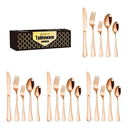 WSYW - Set di 20 posate in acciaio inox, set di posate con coltello, cucchiaio, forchetta, specchio, posate, per la casa e la cucina, colore: oro rosa