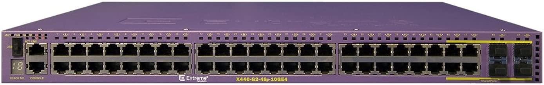 Extreme X440-G2-48p-10GE4 - X440-G2 48 10/100/1000BASE-T POE+, 4 SFP combo, 4 1GbE unpopulated SFP upgradable to 10GbE SFP+