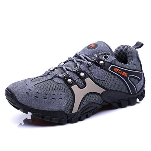 [BEWHY] [ビーホワイ]ハイキングシューズ 登山靴 本革 アウトドア トレッキングシューズ 軽量 高通気 防滑 防水(グレー25cm)