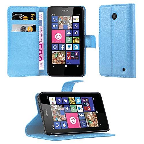 Cadorabo Hülle für Nokia Lumia 630/635 - Hülle in Pastel BLAU – Handyhülle mit Kartenfach und Standfunktion - Case Cover Schutzhülle Etui Tasche Book Klapp Style