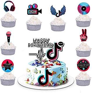 TIK Tok Happy Birthday Cake Topper+24 Pcs Tik Tok Cupcake Toppers Music Note Cupcake Toppers for Girl's Music Karaoke Them...