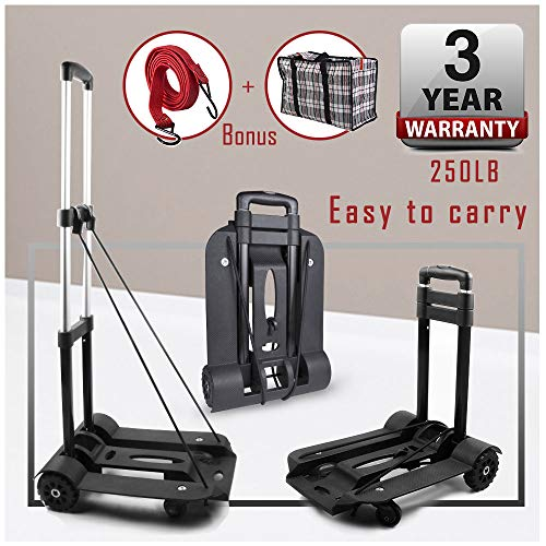 Folding Portable Luggage Cart,Hand Truck, 250-Pound Heavy Duty Luggage Cart with 4 Wheels Solid Construction Compact and Lightweight Utility Cart for Luggage, Personal, Travel, Moving and Office Use