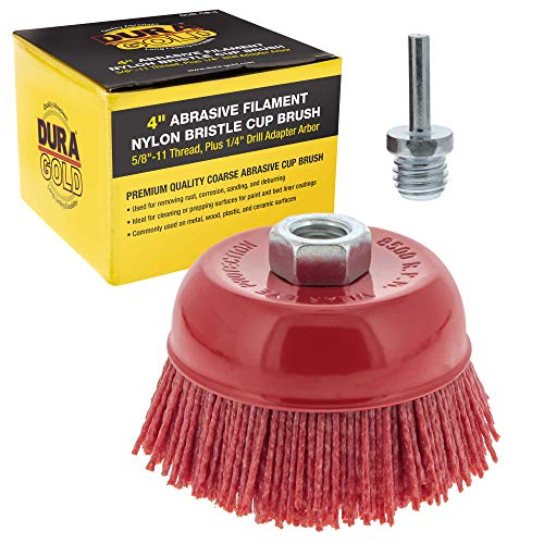 Dura-Gold 4' Abrasive Filament Nylon Bristle Cup Brush - Coarse Sanding Scuffing Brush, 5/8' 11 Thread, 1/4' Drill Arbor - Remove Rust, Corrosion, Paint - Surface Prepping for Truck Bed Liner Coatings