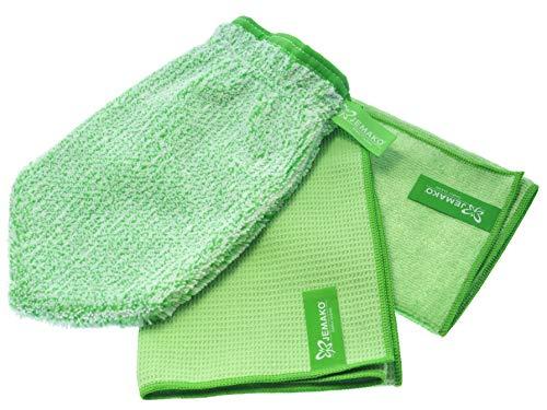 Jemako Juego de 3 guantes de limpieza para ventanas (45 x 60 cm), paño profesional (40 x 45 cm), incluye red de lavado Sinland (verde)