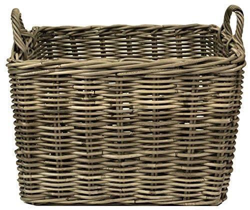east2eden e2e Grey Kubu Rattan Wicker Strong Rectangle Storage Display Kindling Log Basket (Small)