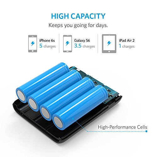 Anker PowerCore 13000 Power Bank – Compact 13000mAh 2-Port Ultra Portable Phone Charger with PowerIQ and VoltageBoost…