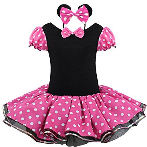 iiniim Kinder Mädchen Kostüm Prinzessin Kleid mit Maus Ohren Haarreif Fasching Karneval Kostüm Party Geburtstag Outfits Kleid Dunkel Rosa 122-128/7-8 Jahre