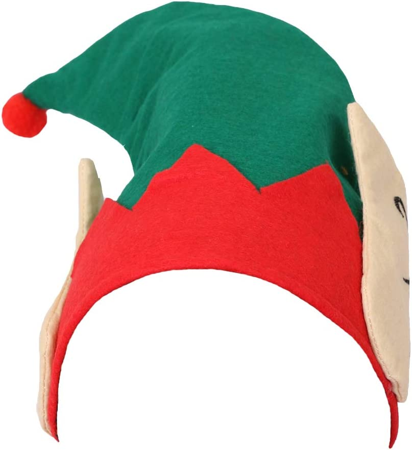 WOMENS CHEEKY ELF CHRISTMAS FANCY DRESS- GREEN TOP X-SMALL   8-10 RED TROUSERS ELF HAT WITH EARS LADIES ELF COSTUME BELT DELUXE POM POM ELF SHOES