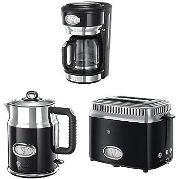 Russell Hobbs Gama Retro - Hervidor de 2400 W, tostador con 2 ranuras y cafetera con jarra de cristal, color negro: Amazon.es: Hogar