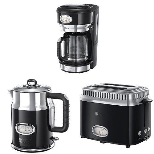 Russell Hobbs Gama Retro - Hervidor de 2400 W, tostador con 2 ranuras y cafetera con jarra de cristal, color negro