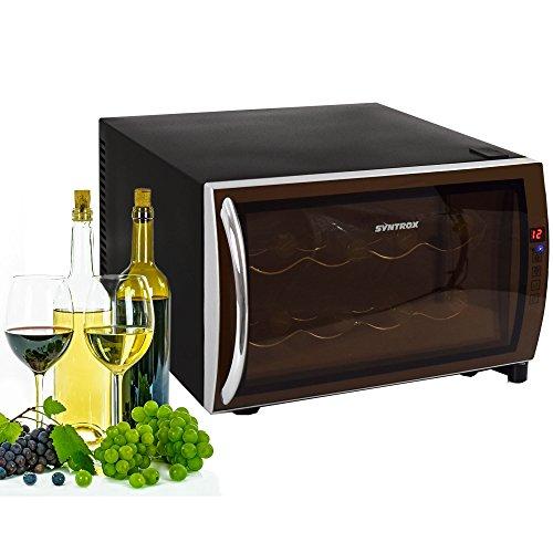Syntrox Germany 8 Flaschen Digitaler Getränkekühlschrank WK-25L-8-2 Weinkühlschrank mit Touch Screen