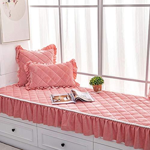 Suuki Custom size short plush bay window cushion with skirt hem,thick non-slip cushion,/floor mat/Sofa Protector Couch Cover-pink_70*240cm+18cm