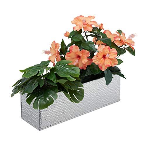 Relaxdays Blumenkasten für innen, Blumentöpfe & Kräuter, rechteckig, Metall, HBT: 13,5x40x12,5 cm, Blumenkiste, Silber