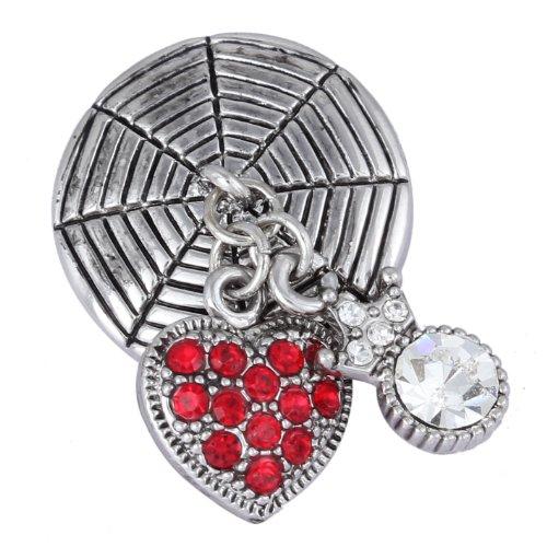 Morella Damen Click-Button Druckknopf mit Anhänger Herz und Krone und Zirkoniasteinen