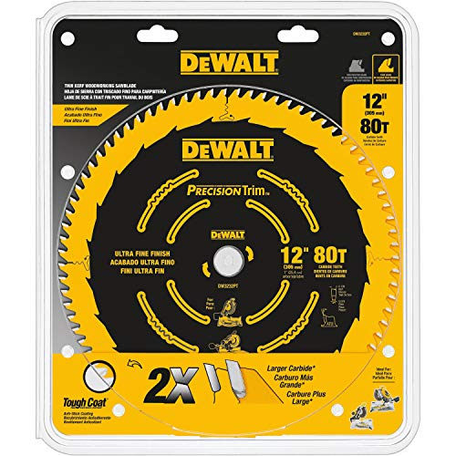DEWALT 12-Inch Miter Saw Blade, Precision Trim, ATB, Crosscutting, 1-Inch Arbor, Tough Coat Finish, 80-Tooth (DW3232PT)