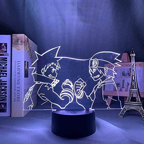 XLLQYY 3D Anime Soul Eater Lámpara LED de noche para decoración de dormitorio Luz de noche Regalo de cumpleaños Manga Soul Eater Luz de neón 16 colores con control remoto 7 colores sin control remoto