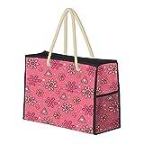 Lindo patrón decorativo geométrico, resistente al agua, bolsa de playa grande de paja, bolso de playa, bolso de...