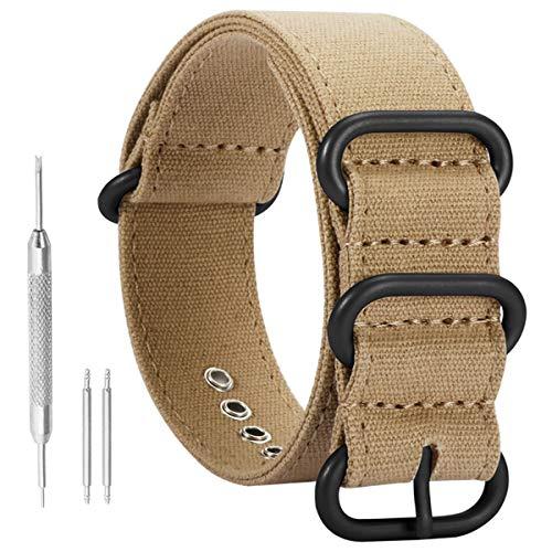 AUTULET 22mm kaki morbida tela polso banda vigilanza del wristband uomini di sport