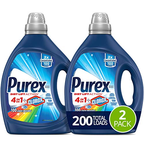Purex Liquid Laundry Detergent, 4in1 Plus Clorox2, 2X Concentrated, 2 Count, 200 Total Loads